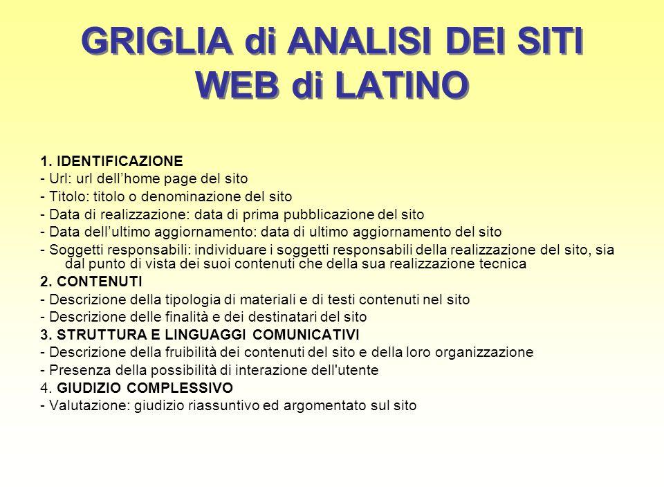 GRIGLIA di ANALISI DEI SITI WEB di LATINO 1.