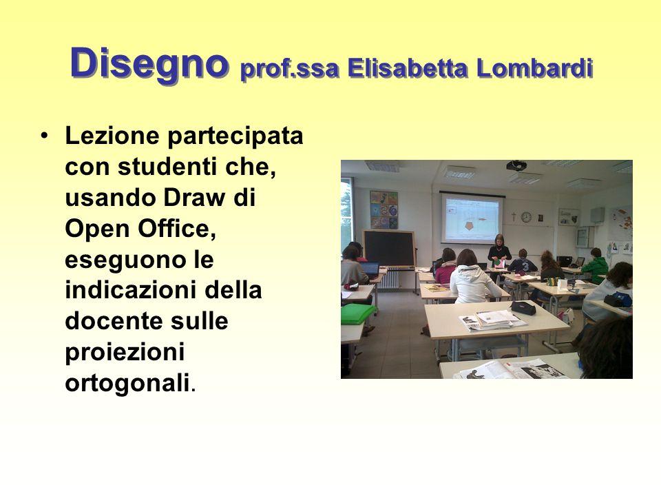Disegno prof.ssa Elisabetta Lombardi Lezione partecipata con studenti che, usando Draw di Open Office, eseguono le indicazioni della docente sulle proiezioni ortogonali.