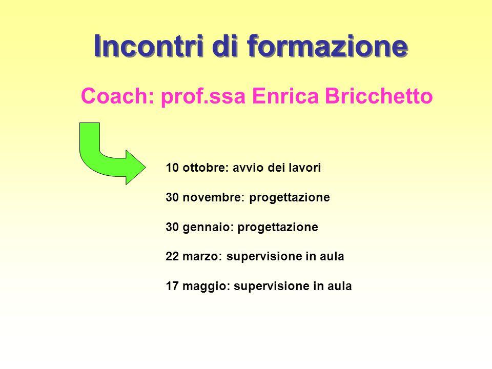 Incontri di formazione Coach: prof.ssa Enrica Bricchetto 10 ottobre: avvio dei lavori 30 novembre: progettazione 30 gennaio: progettazione 22 marzo: s