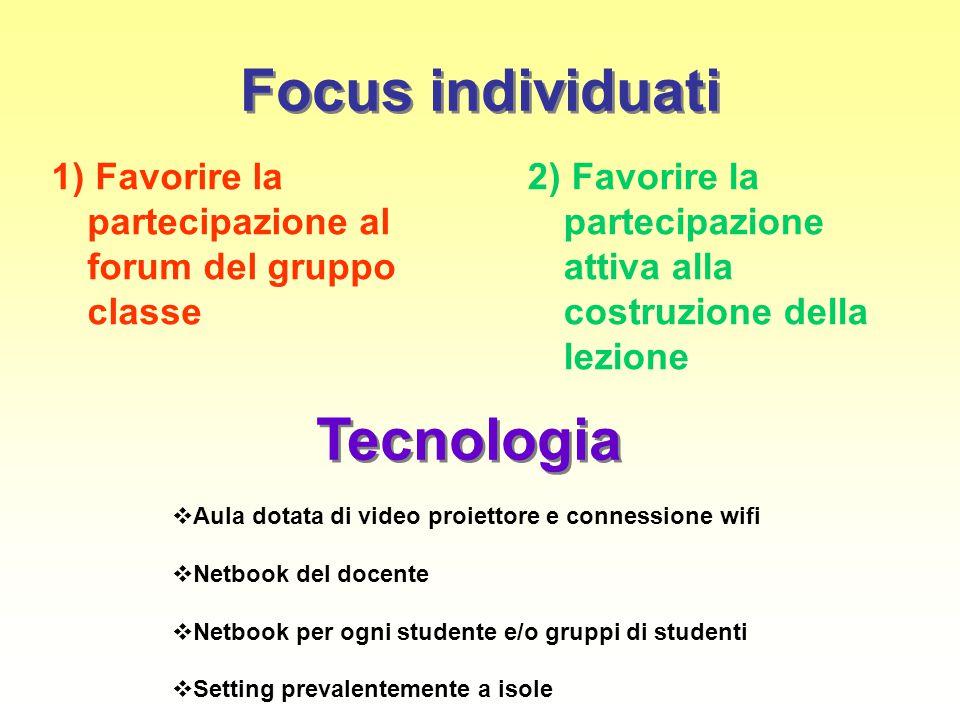 Focus individuati 1) Favorire la partecipazione al forum del gruppo classe 2) Favorire la partecipazione attiva alla costruzione della lezione Tecnolo