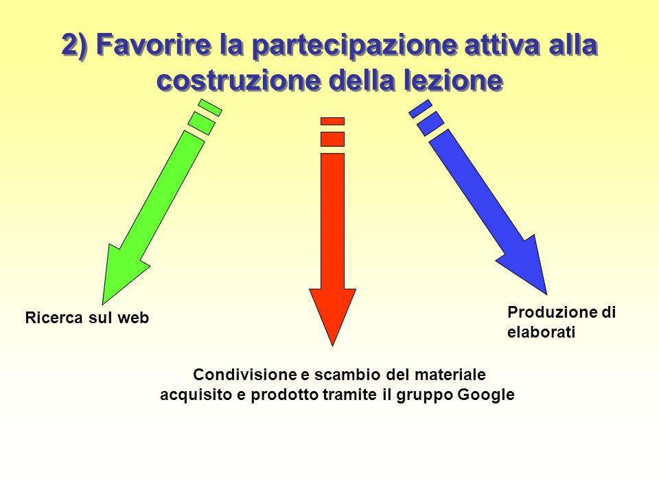 2) Favorire la partecipazione attiva alla costruzione della lezione Ricerca sul web Produzione di elaborati Condivisione e scambio del materiale acqui