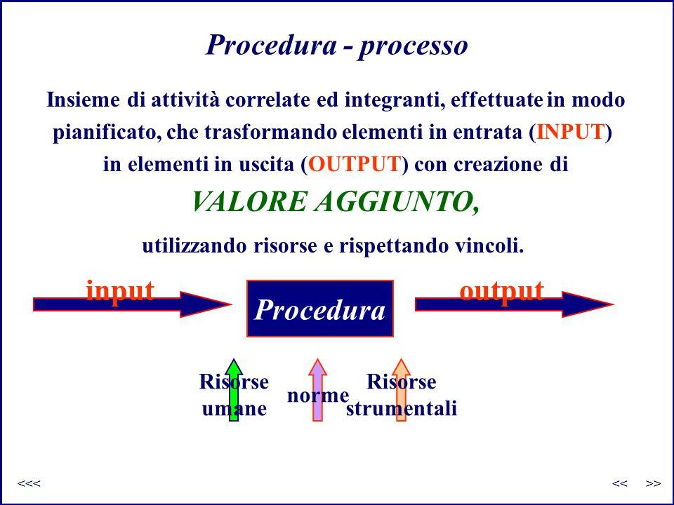 Procedura - processo Insieme di attività correlate ed integranti, effettuate in modo pianificato, che trasformando elementi in entrata (INPUT) in elem