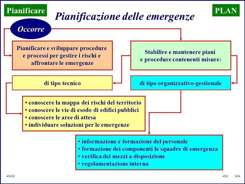 Pianificare e sviluppare procedure e processi per gestire i rischi e affrontare le emergenze Pianificazione delle emergenze PLAN Occorre Stabilire e m