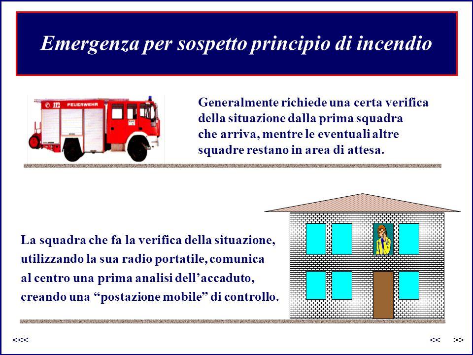 Emergenza per sospetto principio di incendio Generalmente richiede una certa verifica della situazione dalla prima squadra che arriva, mentre le event