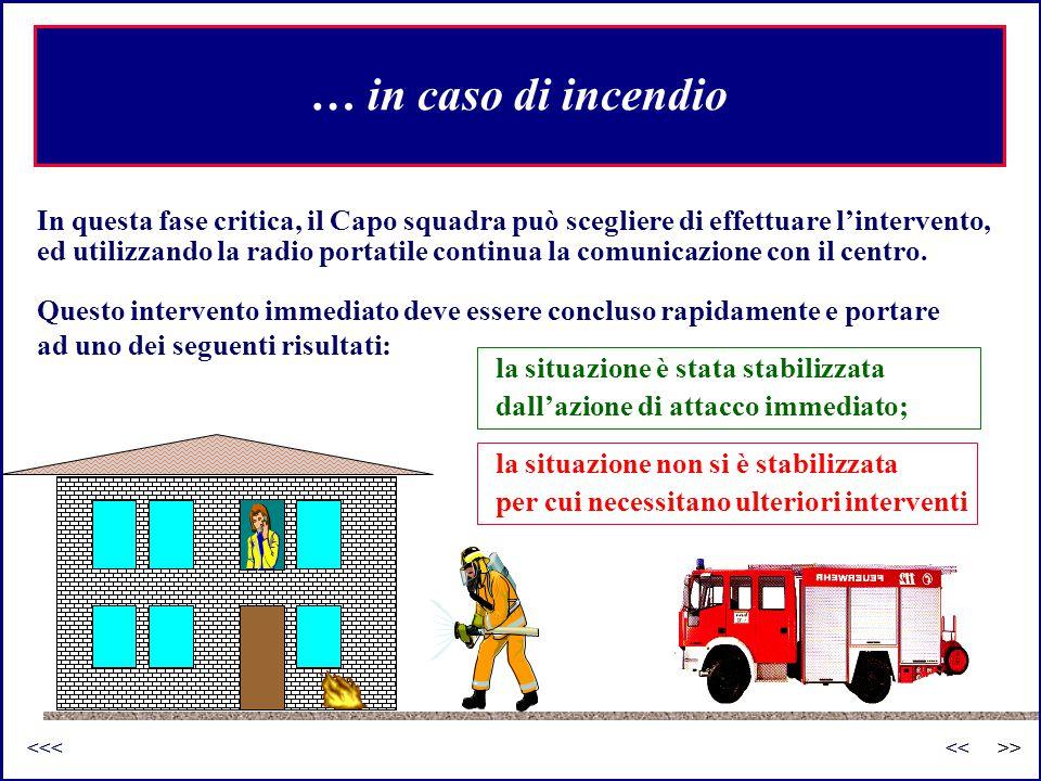 la situazione non si è stabilizzata per cui necessitano ulteriori interventi … in caso di incendio In questa fase critica, il Capo squadra può sceglie