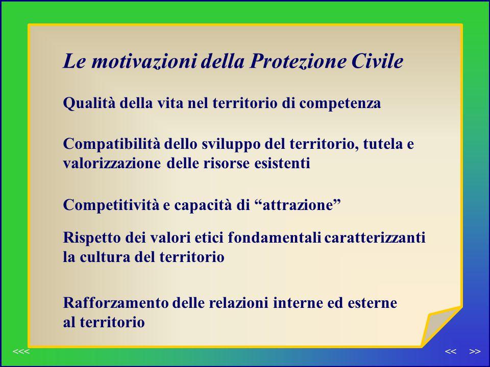 Le motivazioni della Protezione Civile Qualità della vita nel territorio di competenza Compatibilità dello sviluppo del territorio, tutela e valorizza