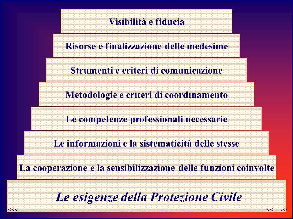 Metodologie e criteri di coordinamento Le esigenze della Protezione Civile Le informazioni e la sistematicità delle stesse Le competenze professionali