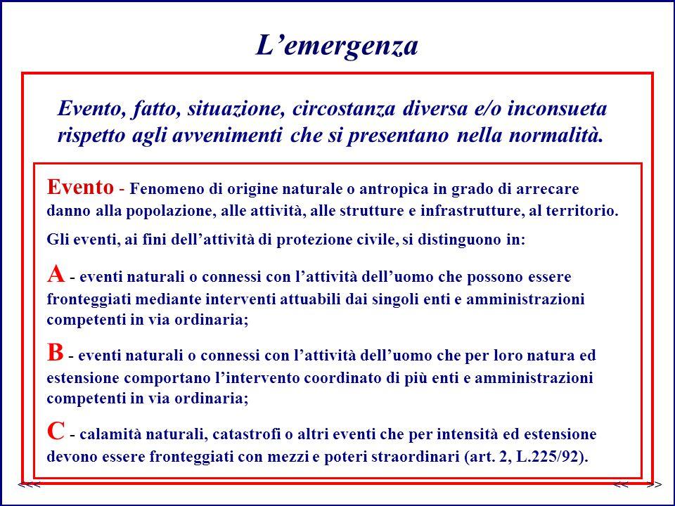 L'emergenza Evento, fatto, situazione, circostanza diversa e/o inconsueta rispetto agli avvenimenti che si presentano nella normalità. C - calamità na