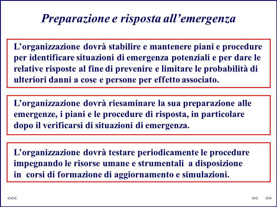 Preparazione e risposta all'emergenza L'organizzazione dovrà stabilire e mantenere piani e procedure per identificare situazioni di emergenza potenzia
