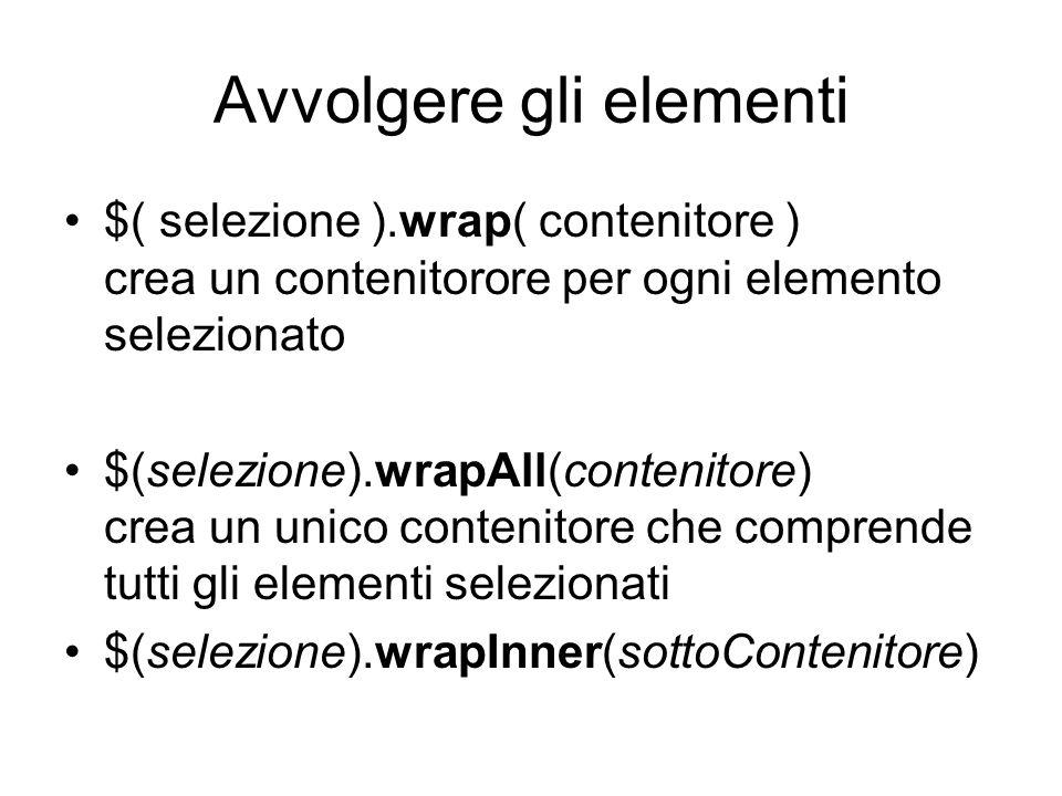 Avvolgere gli elementi $( selezione ).wrap( contenitore ) crea un contenitorore per ogni elemento selezionato $(selezione).wrapAll(contenitore) crea un unico contenitore che comprende tutti gli elementi selezionati $(selezione).wrapInner(sottoContenitore)
