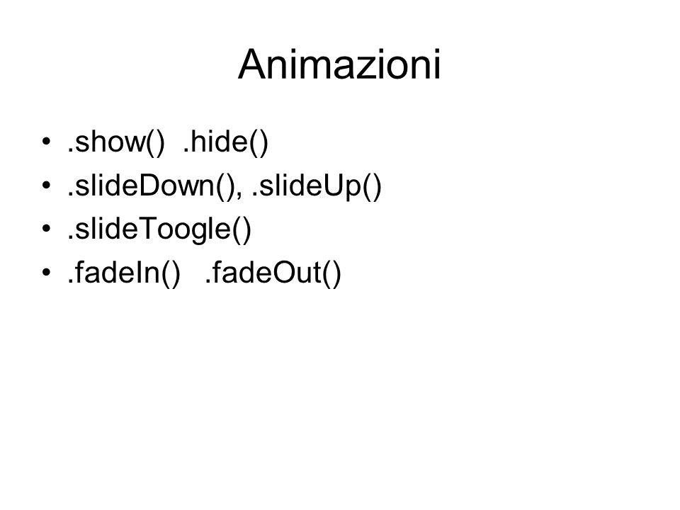 Animazioni.show().hide().slideDown(),.slideUp().slideToogle().fadeIn().fadeOut()