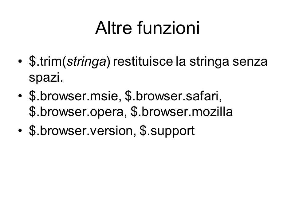 Altre funzioni $.trim(stringa) restituisce la stringa senza spazi. $.browser.msie, $.browser.safari, $.browser.opera, $.browser.mozilla $.browser.vers