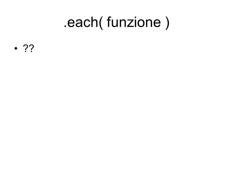 .clone $(selezione).clone( false ) clona l elemento senza ricopiare gli eventi $(selezione).clone( true ) clona l elemento ricopiando anche gli eventi Gli elementi vanno poi aggiunti.$(selezione).clone().appendTo(contenitore)