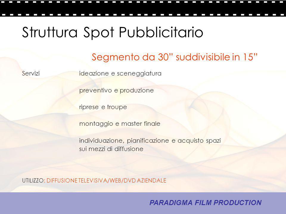 13 - La comunicazione PARADIGMA FILM PRODUCTION Struttura Spot Pubblicitario Serviziideazione e sceneggiatura preventivo e produzione riprese e troupe