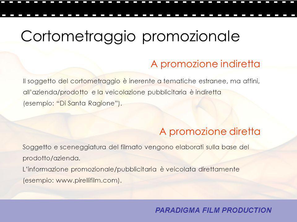 16 - La comunicazione PARADIGMA FILM PRODUCTION Cortometraggio promozionale A promozione diretta A promozione indiretta Soggetto e sceneggiatura del f