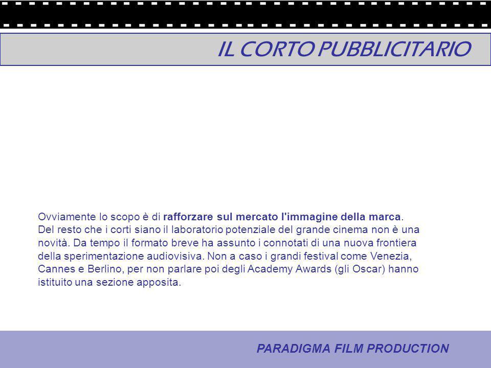 23 - La comunicazione PARADIGMA FILM PRODUCTION Ovviamente lo scopo è di rafforzare sul mercato l'immagine della marca. Del resto che i corti siano il