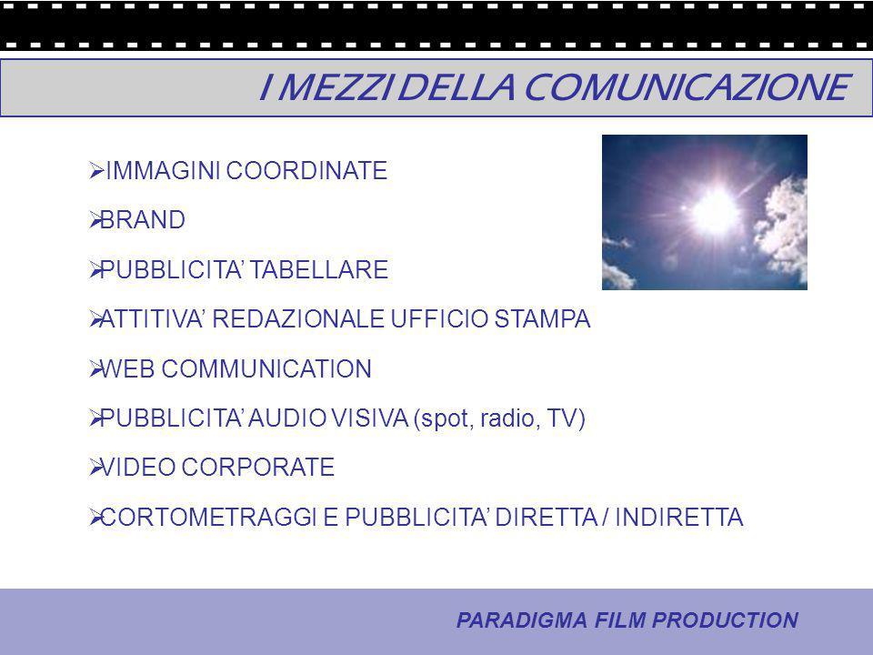 4 - La comunicazione PARADIGMA FILM PRODUCTION I MEZZI DELLA COMUNICAZIONE  IMMAGINI COORDINATE  BRAND  PUBBLICITA' TABELLARE  ATTITIVA' REDAZIONA