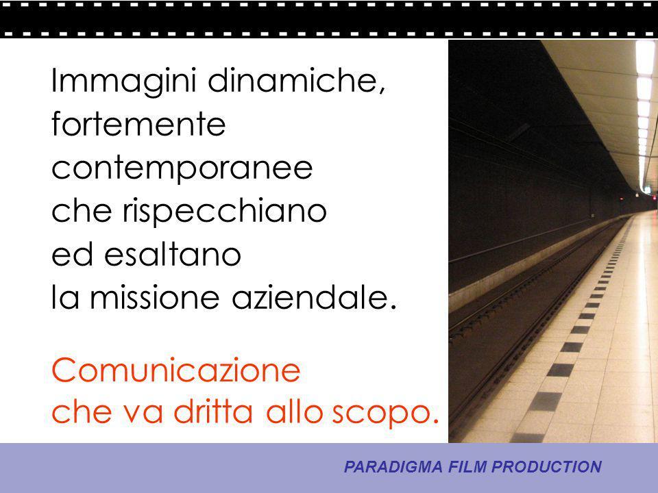 8 - La comunicazione PARADIGMA FILM PRODUCTION che va dritta allo scopo. Comunicazione Immagini dinamiche, fortemente contemporanee che rispecchiano e
