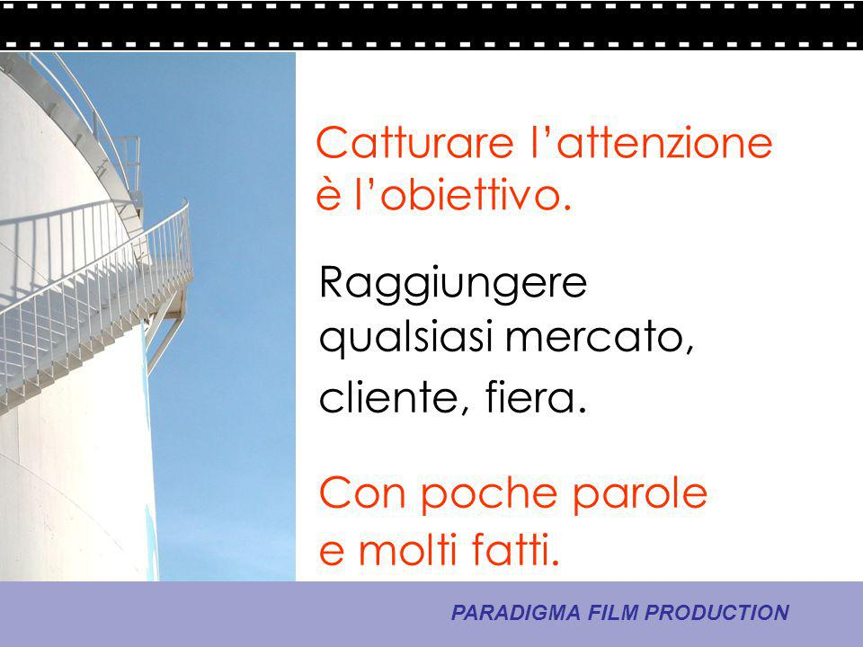 9 - La comunicazione PARADIGMA FILM PRODUCTION Catturare l'attenzione è l'obiettivo. Raggiungere qualsiasi mercato, Con poche parole e molti fatti. cl