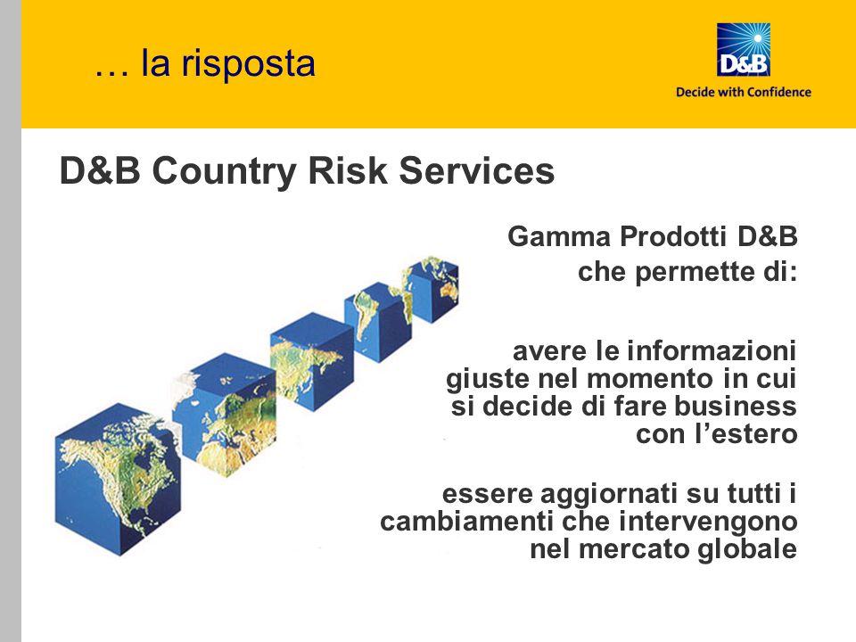 … la risposta D&B Country Risk Services essere aggiornati su tutti i cambiamenti che intervengono nel mercato globale Gamma Prodotti D&B che permette