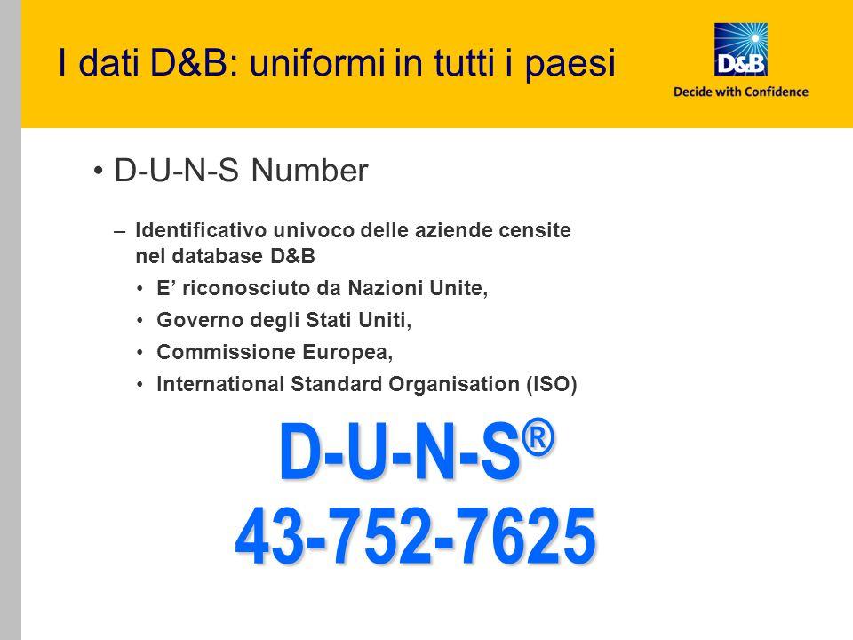 D-U-N-S Number –Identificativo univoco delle aziende censite nel database D&B E' riconosciuto da Nazioni Unite, Governo degli Stati Uniti, Commissione