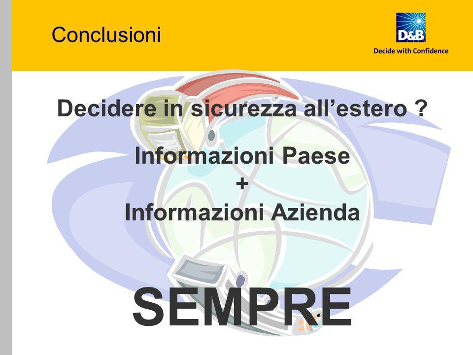 Conclusioni Decidere in sicurezza all'estero ? Informazioni Paese + Informazioni Azienda SEMPRE
