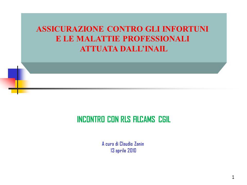 1 ASSICURAZIONE CONTRO GLI INFORTUNI E LE MALATTIE PROFESSIONALI ATTUATA DALL'INAIL INCONTRO CON RLS FILCAMS CGIL A cura di Claudio Zanin 13 aprile 2010