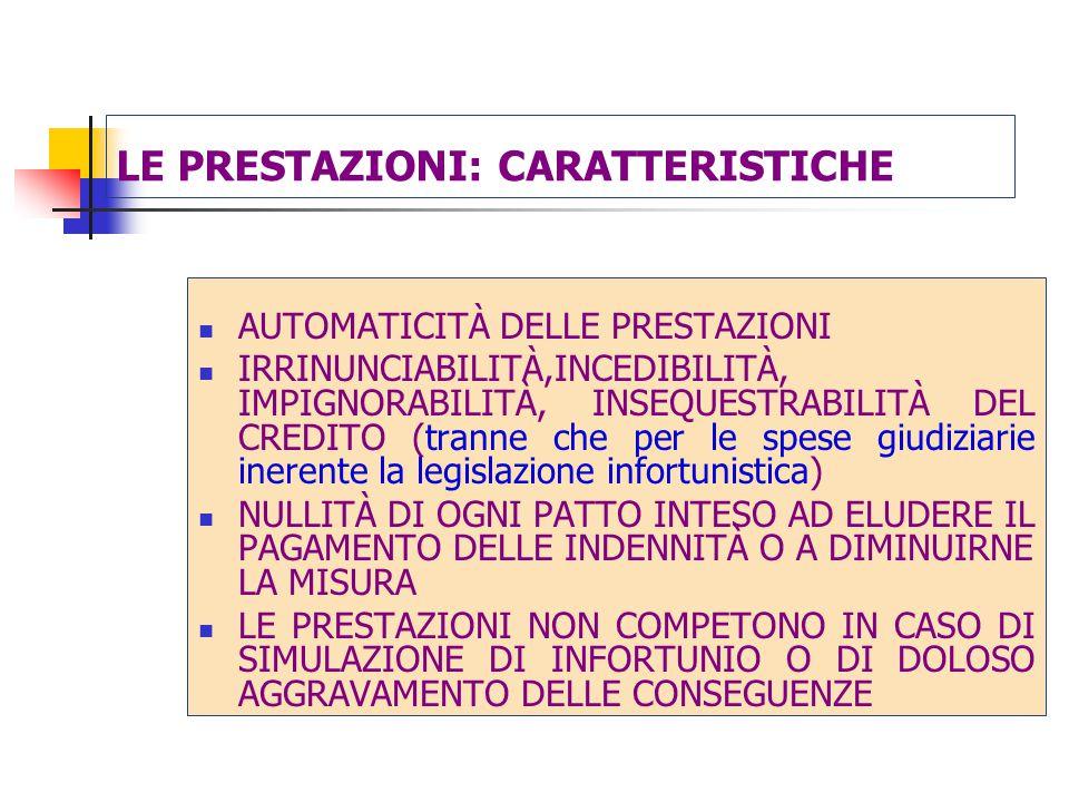 LE PRESTAZIONI: CARATTERISTICHE AUTOMATICITÀ DELLE PRESTAZIONI IRRINUNCIABILITÀ,INCEDIBILITÀ, IMPIGNORABILITÀ, INSEQUESTRABILITÀ DEL CREDITO (tranne che per le spese giudiziarie inerente la legislazione infortunistica) NULLITÀ DI OGNI PATTO INTESO AD ELUDERE IL PAGAMENTO DELLE INDENNITÀ O A DIMINUIRNE LA MISURA LE PRESTAZIONI NON COMPETONO IN CASO DI SIMULAZIONE DI INFORTUNIO O DI DOLOSO AGGRAVAMENTO DELLE CONSEGUENZE