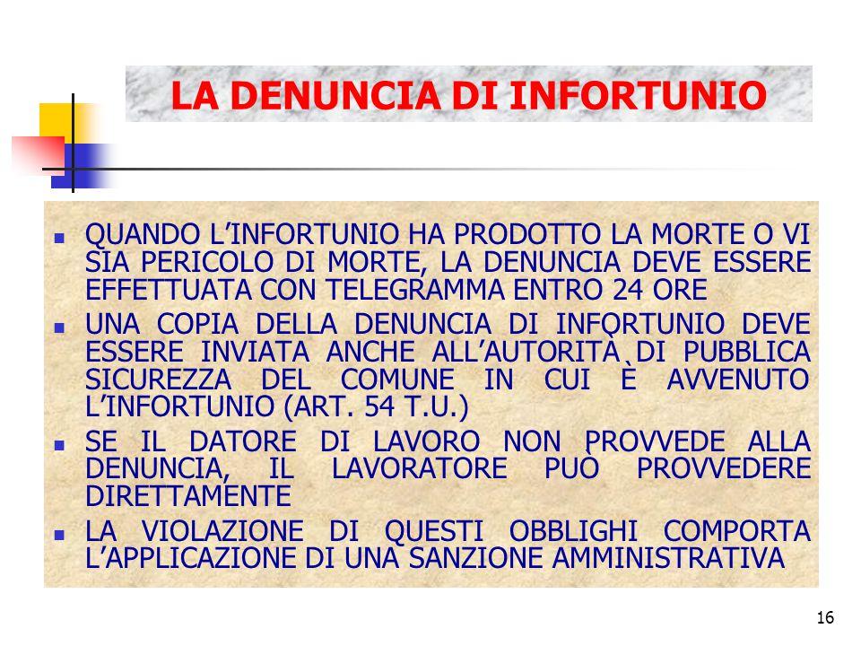 16 LA DENUNCIA DI INFORTUNIO QUANDO L'INFORTUNIO HA PRODOTTO LA MORTE O VI SIA PERICOLO DI MORTE, LA DENUNCIA DEVE ESSERE EFFETTUATA CON TELEGRAMMA ENTRO 24 ORE UNA COPIA DELLA DENUNCIA DI INFORTUNIO DEVE ESSERE INVIATA ANCHE ALL'AUTORITÀ DI PUBBLICA SICUREZZA DEL COMUNE IN CUI È AVVENUTO L'INFORTUNIO (ART.