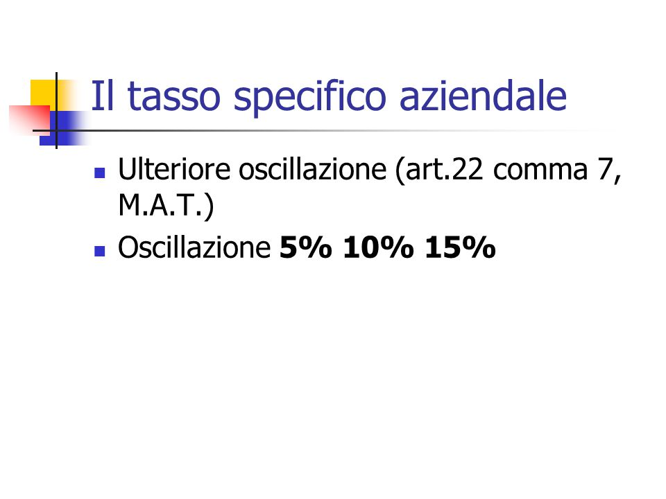 Il tasso specifico aziendale Ulteriore oscillazione (art.22 comma 7, M.A.T.) Oscillazione 5% 10% 15%