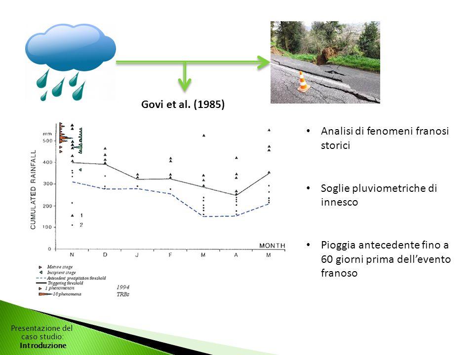 Govi et al. (1985) Analisi di fenomeni franosi storici Soglie pluviometriche di innesco Pioggia antecedente fino a 60 giorni prima dell'evento franoso