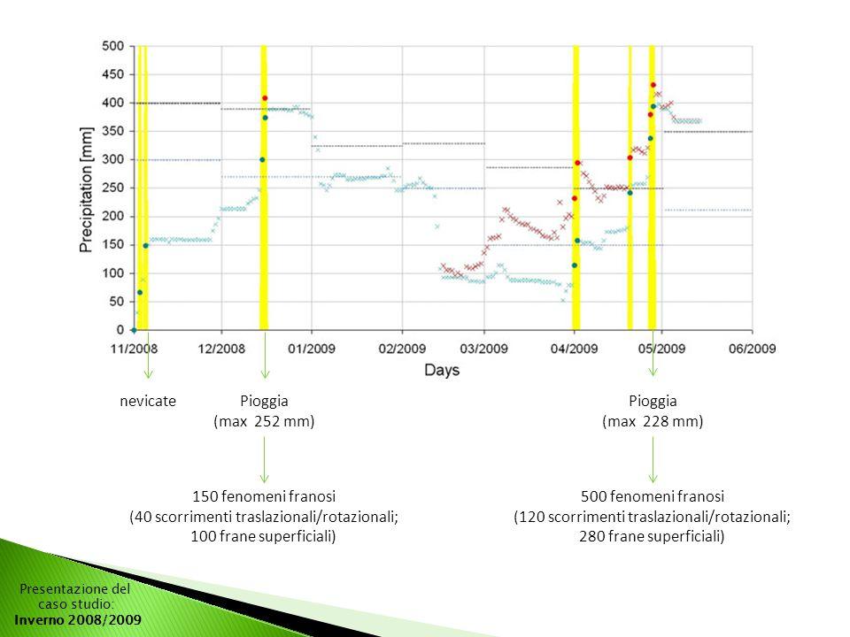 Presentazione del caso studio: Inverno 2008/2009 nevicatePioggia (max 252 mm) Pioggia (max 228 mm) 150 fenomeni franosi (40 scorrimenti traslazionali/rotazionali; 100 frane superficiali) 500 fenomeni franosi (120 scorrimenti traslazionali/rotazionali; 280 frane superficiali)