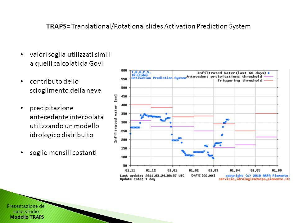 Presentazione del caso studio: Modello TRAPS TRAPS= Translational/Rotational slides Activation Prediction System valori soglia utilizzati simili a quelli calcolati da Govi contributo dello scioglimento della neve precipitazione antecedente interpolata utilizzando un modello idrologico distribuito soglie mensili costanti