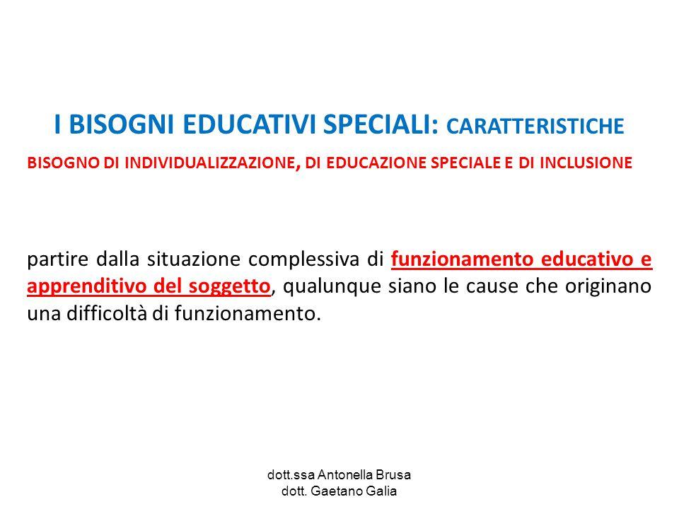 dott.ssa Antonella Brusa dott. Gaetano Galia I BISOGNI EDUCATIVI SPECIALI: CARATTERISTICHE BISOGNO DI INDIVIDUALIZZAZIONE, DI EDU  CAZIONE SPECIALE E
