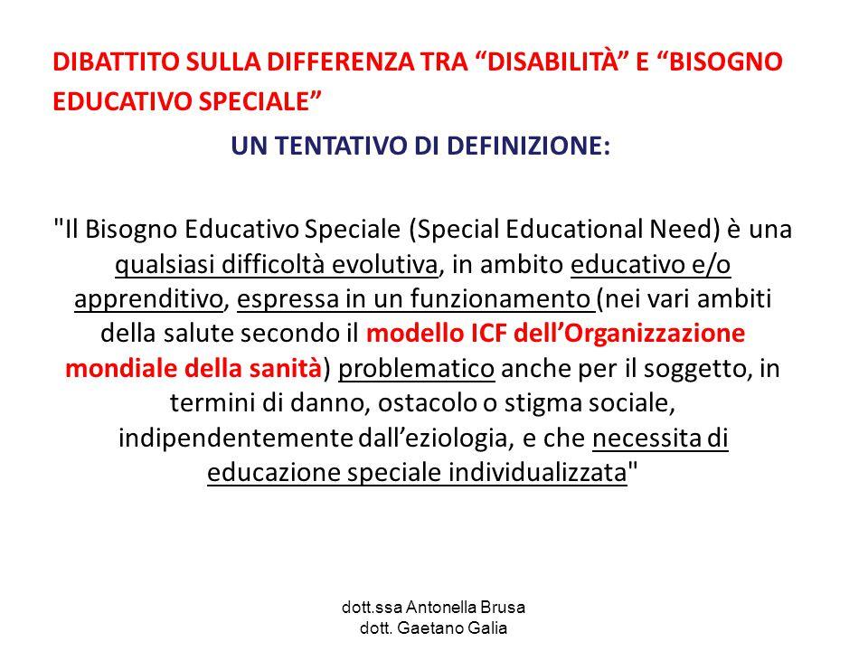"""dott.ssa Antonella Brusa dott. Gaetano Galia DIBATTITO SULLA DIFFERENZA TRA """"DISABILITÀ"""" E """"BISOGNO EDUCATIVO SPECIALE"""" UN TENTATIVO DI DEFINIZIONE:"""