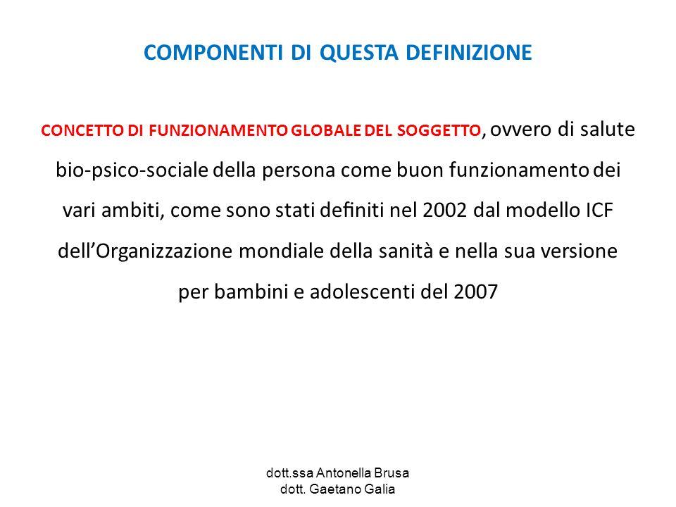 dott.ssa Antonella Brusa dott. Gaetano Galia COMPONENTI DI QUESTA DEFINIZIONE CONCETTO DI FUNZIONAMENTO GLOBALE DEL SOGGETTO, ovvero di salute bio-psi