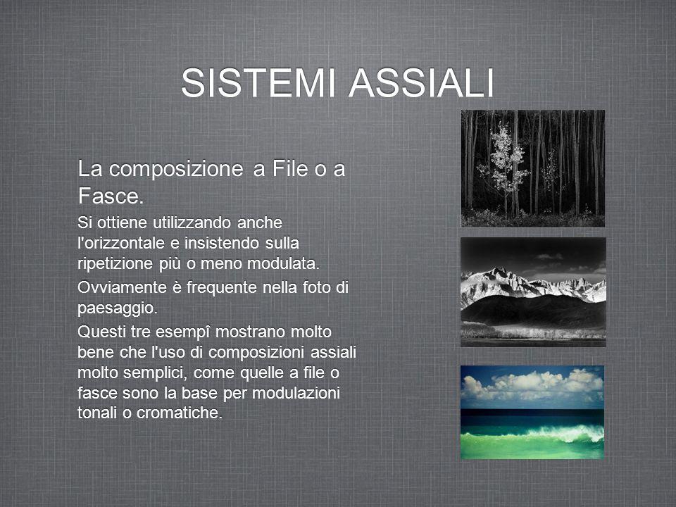 SISTEMI ASSIALI La composizione a File o a Fasce. Si ottiene utilizzando anche l'orizzontale e insistendo sulla ripetizione più o meno modulata. Ovvia