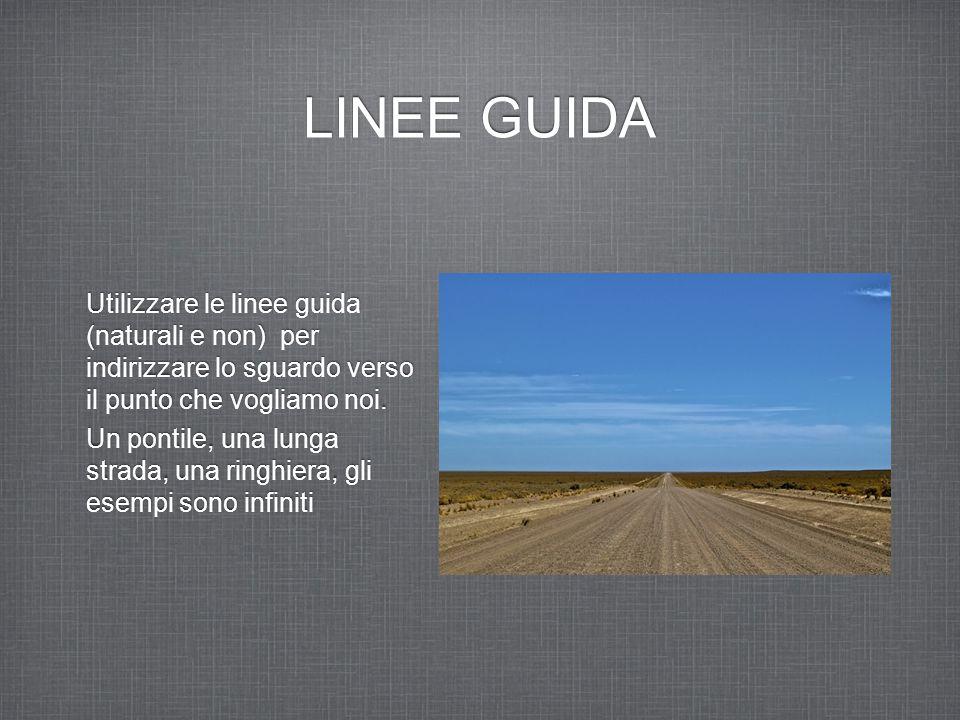 LINEE GUIDA Utilizzare le linee guida (naturali e non) per indirizzare lo sguardo verso il punto che vogliamo noi. Un pontile, una lunga strada, una r