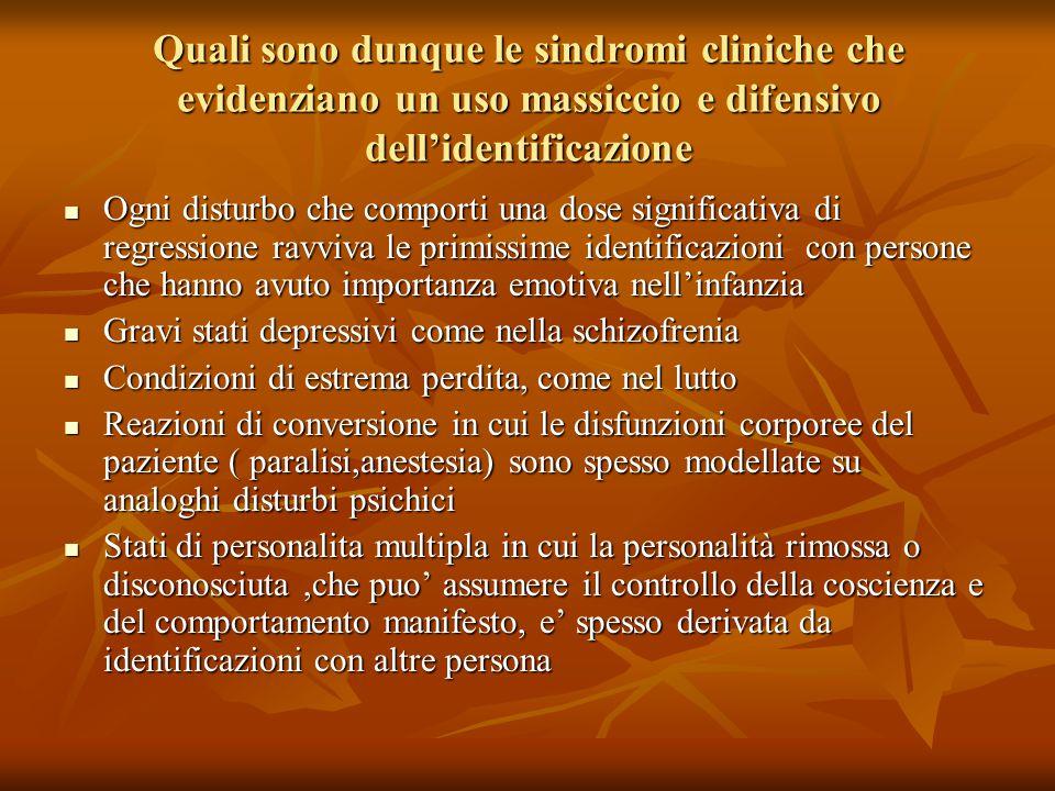 Quali sono dunque le sindromi cliniche che evidenziano un uso massiccio e difensivo dell'identificazione Ogni disturbo che comporti una dose significa