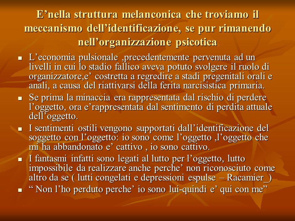 E'nella struttura melanconica che troviamo il meccanismo dell'identificazione, se pur rimanendo nell'organizzazione psicotica L'economia pulsionale,pr