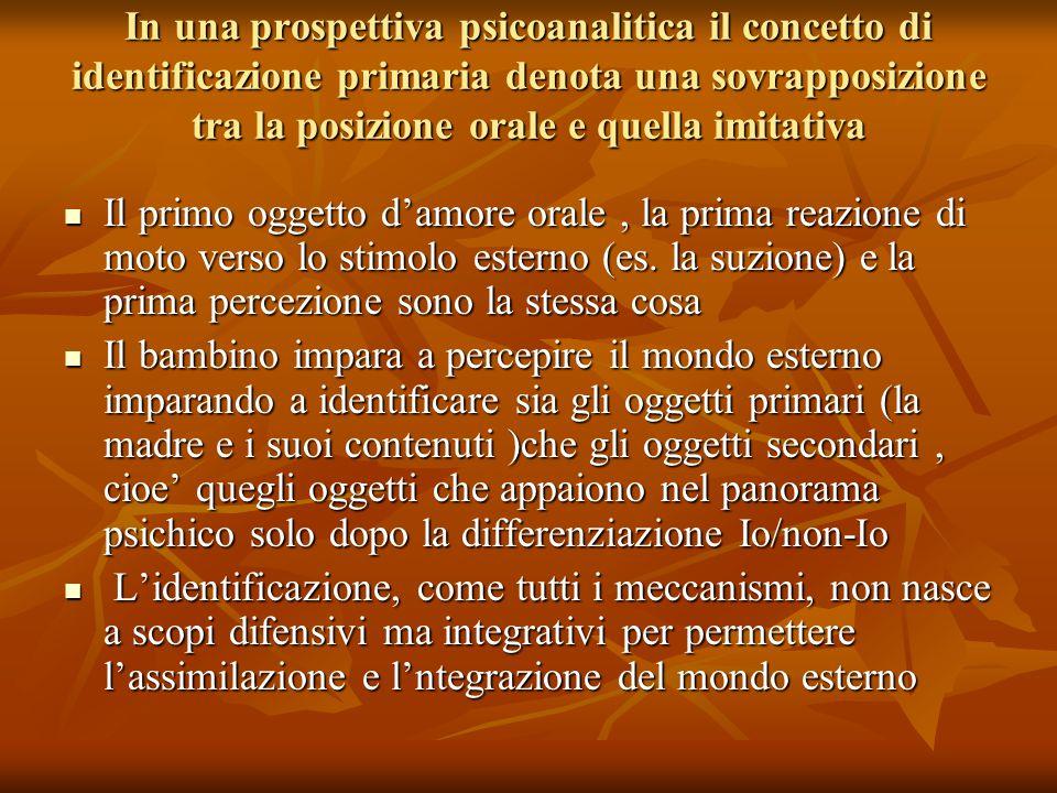 In una prospettiva psicoanalitica il concetto di identificazione primaria denota una sovrapposizione tra la posizione orale e quella imitativa Il prim