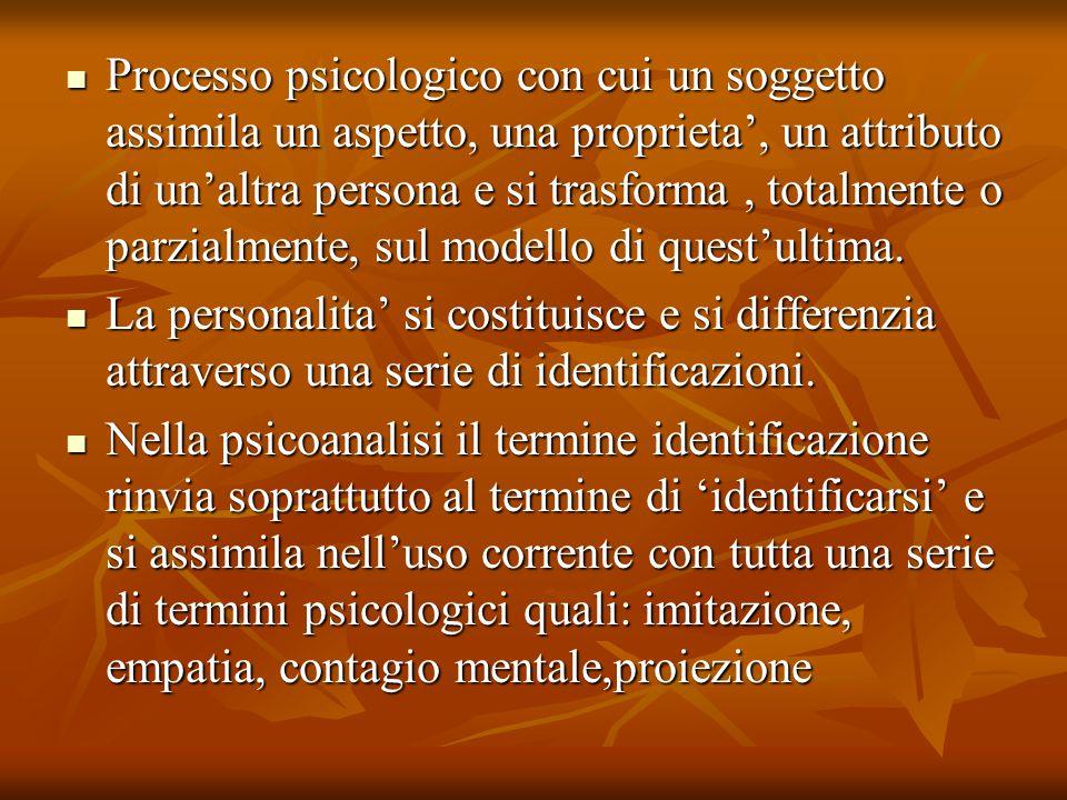 Il concetto di identificazione ha assunto nell'opera di Freud il valore centrale che ne fa l'operazione con cui si costituisce il soggetto L'identificazione era stata menzionata molto presto da Freud soprattutto a proposito dei sintomi isterici nei termini dell'imitazione e del contagio mentale, spiegandoli come l'esistenza di un elemento inconscio che permane, comune con la persona con cui l'isterica si identifica L'identificazione era stata menzionata molto presto da Freud soprattutto a proposito dei sintomi isterici nei termini dell'imitazione e del contagio mentale, spiegandoli come l'esistenza di un elemento inconscio che permane, comune con la persona con cui l'isterica si identifica Secondo Freud questo qualche cosa in comune e' una fantasia: l'agorafobica si identifica inconsciamente con una prostituta e il sintomo costituisce una difesa contro questa identificazione e contro il desiderio sessuale che essa suppone.