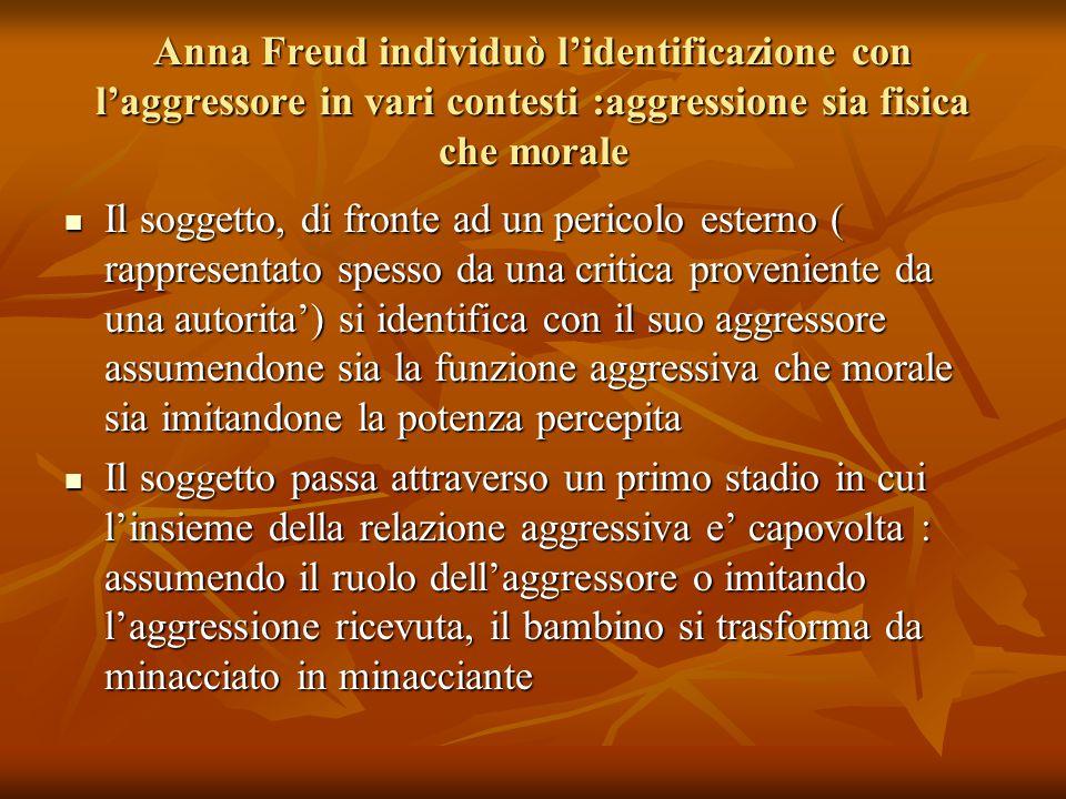 Anna Freud individuò l'identificazione con l'aggressore in vari contesti :aggressione sia fisica che morale Il soggetto, di fronte ad un pericolo este
