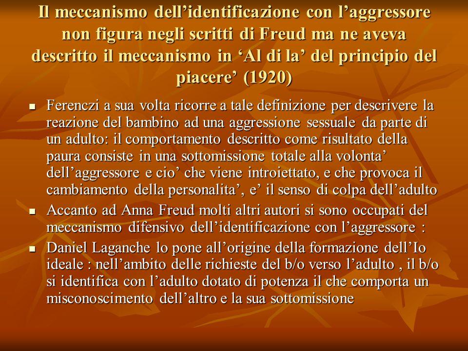 Il meccanismo dell'identificazione con l'aggressore non figura negli scritti di Freud ma ne aveva descritto il meccanismo in 'Al di la' del principio