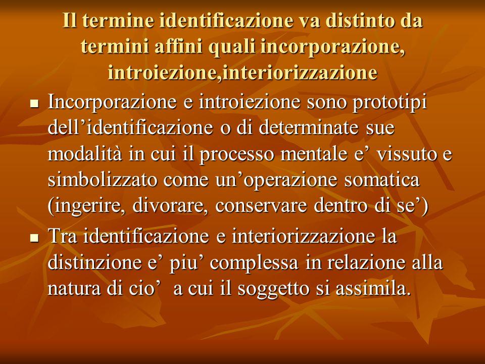 Il termine identificazione va distinto da termini affini quali incorporazione, introiezione,interiorizzazione Incorporazione e introiezione sono proto