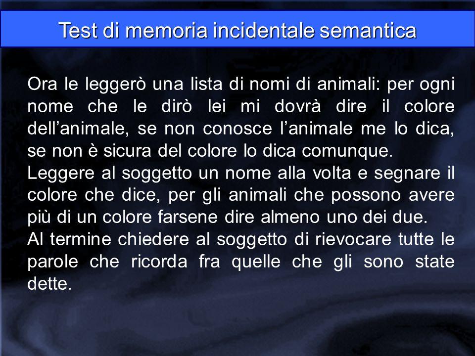 Ora le leggerò una lista di nomi di animali: per ogni nome che le dirò lei mi dovrà dire il colore dell'animale, se non conosce l'animale me lo dica,