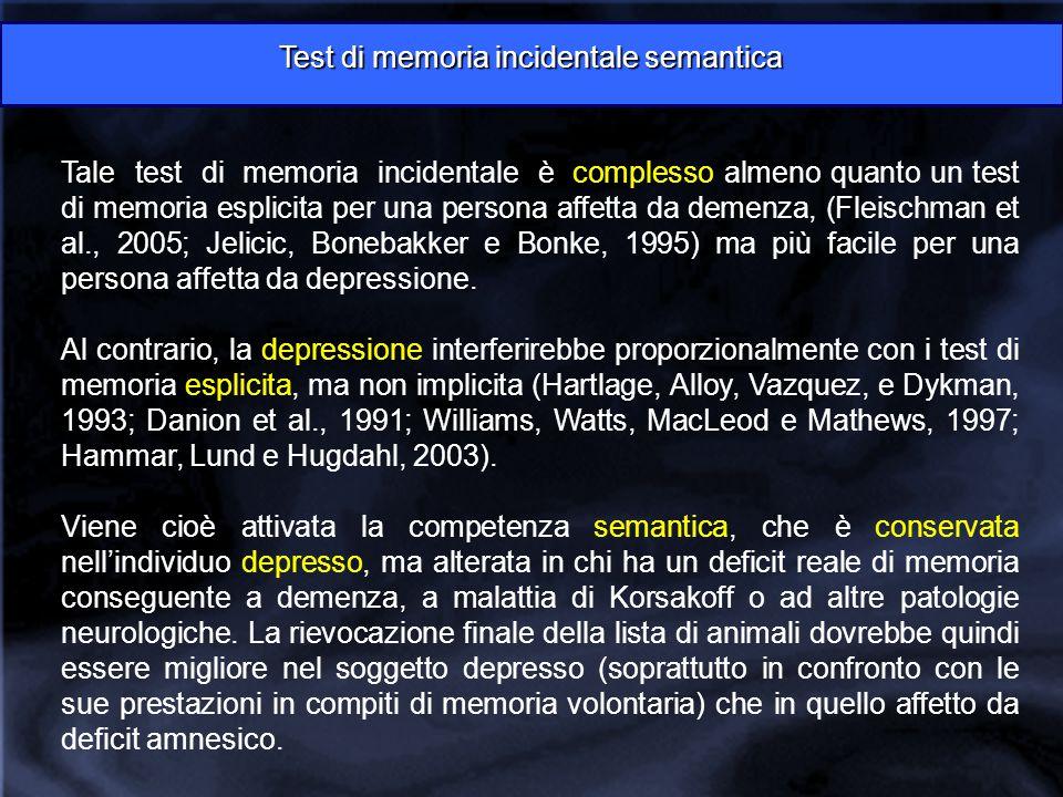 Tale test di memoria incidentale è complesso almeno quanto un test di memoria esplicita per una persona affetta da demenza, (Fleischman et al., 2005; Jelicic, Bonebakker e Bonke, 1995) ma più facile per una persona affetta da depressione.