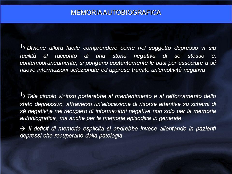 MEMORIA AUTOBIOGRAFICA ↳ Diviene allora facile comprendere come nel soggetto depresso vi sia facilità al racconto di una storia negativa di se stesso