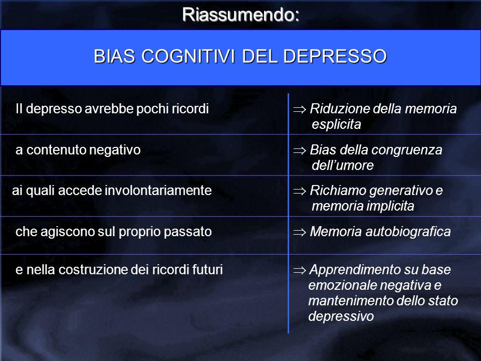 Riassumendo: BIAS COGNITIVI DEL DEPRESSO Il depresso avrebbe pochi ricordi  Riduzione della memoria esplicita a contenuto negativo  Bias della congr