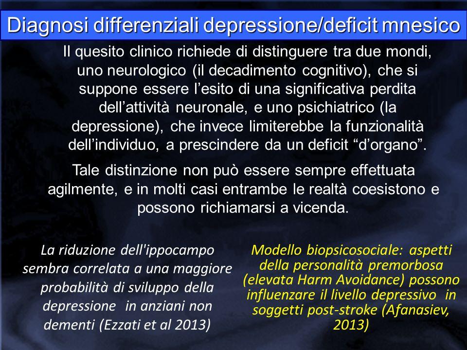Diagnosi differenziali depressione/deficit mnesico Il quesito clinico richiede di distinguere tra due mondi, uno neurologico (il decadimento cognitivo), che si suppone essere l'esito di una significativa perdita dell'attività neuronale, e uno psichiatrico (la depressione), che invece limiterebbe la funzionalità dell'individuo, a prescindere da un deficit d'organo .
